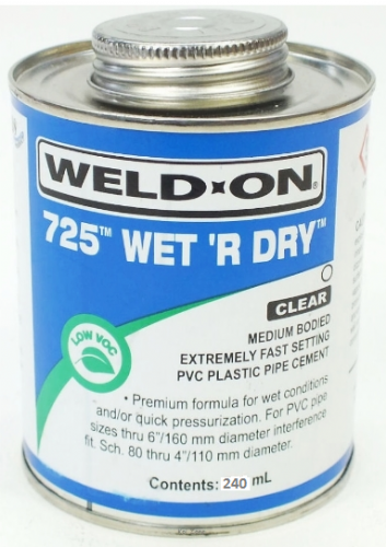 Wet R Dry Solvent Cement - 240ml for Swimming Pool Pipework